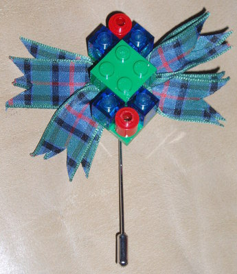 Lego Tartan Buttonhole Highland Wedding Groom Guest Swarovski
