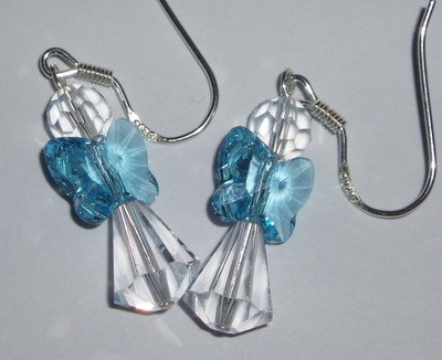 Angel Earrings Butterfly Wing Swarovski Handmade Birthday Gift