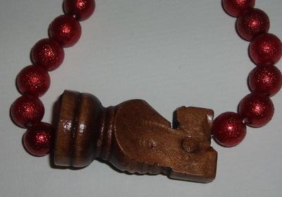 Knight Bracelet Chess Piece Dark Pearls Stretch Mischa Baron