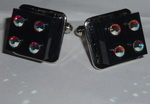 Lego Cufflinks Black 2x2 Lego Bricks and 8 Swarovski Crystals