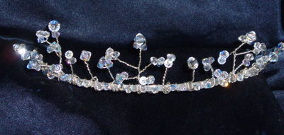 Tiara 3 branch Graduated Swarovski Crystal Bridal Bride Wedding