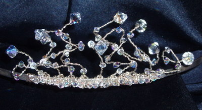 Tiara Corkscrew Branch Graduated Swarovski Bridal Bride Wedding