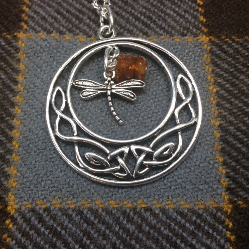 Outlander Inspired Celtic Knot Dragonfly Amber Pendant