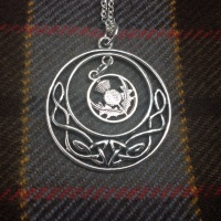 Outlander Inspired Celtic Knot Scottish Thistle Pendant