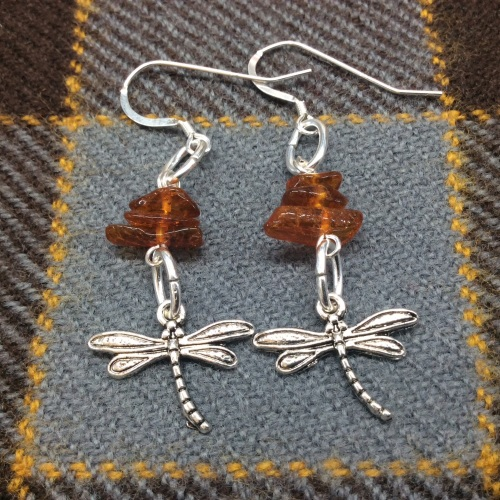 Outlander Inspired Dragonfly Amber Earrings