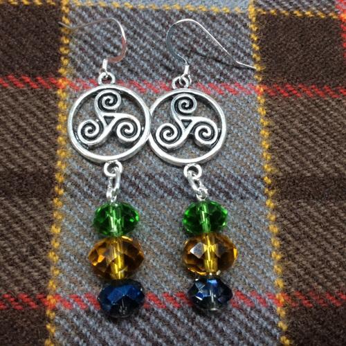 Outlander Inspired Celtic Triskelion Earrings