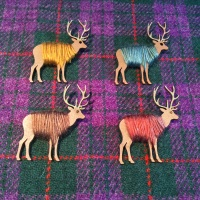 Highland Stag Brooch Wool Wrapped