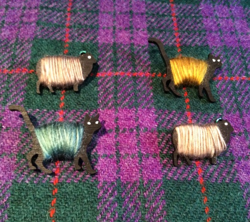 Shetland Sheep Brooch Wool Wrapped