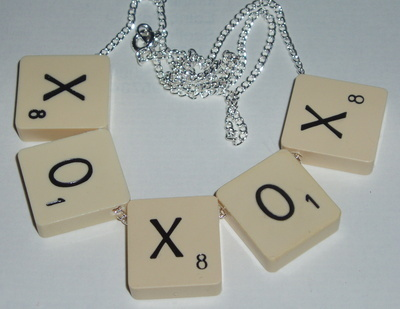 Scrabble Necklace Top Drilled Chain Personalised Name Letters