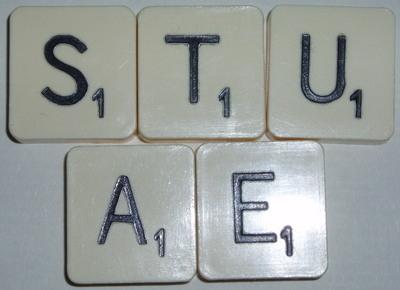 Scrabble Tiles letters S T U E A Square Black Craft