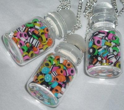 Bertie Allsorts Sweetie Jar Pendant Miniature Liquorice Sweets