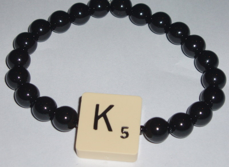 Scrabble stretch letter bracelet black