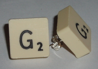 Travel Scrabble Earrings Stud Sterling Initial Letters Available J K