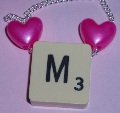 Scrabble Pendant Top Drilled Chain Hearts All Letters Available