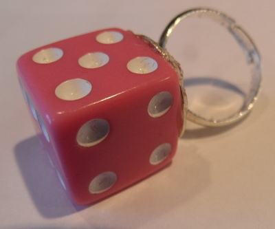 Dice Ring Baby Pink Rockabilly