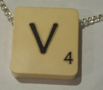 Scrabble Pendant Top Drilled Chain All Letters Available