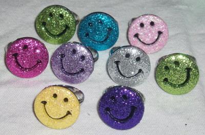 Smiley Ring Glitter Face Adjustable