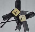 Scrabble Hair Clip Letter Bow Black Ribbon Pixie Lott Swarovski