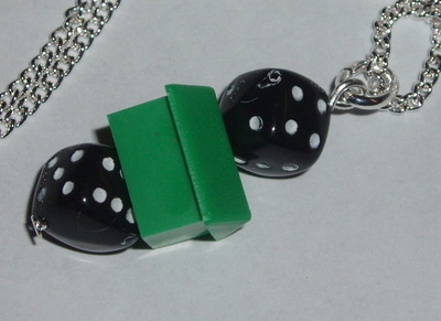 Monopoly House Black Dice Pendant