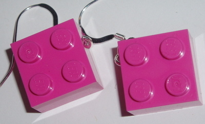 Lego Earrings 2x2 Brick Drop Sterling Geek Retro Swarovski