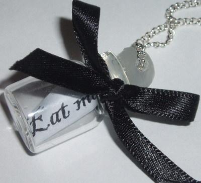 Message In A Bottle Pendant Black Bow Eat Drink Dance Live Laugh