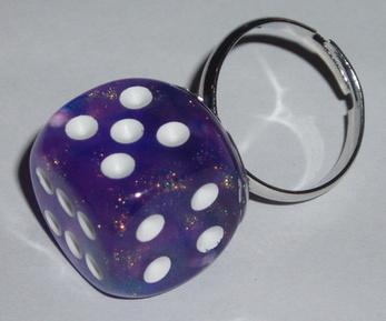Dice Ring Purple Borealis Rockabilly Chessex Adjustable