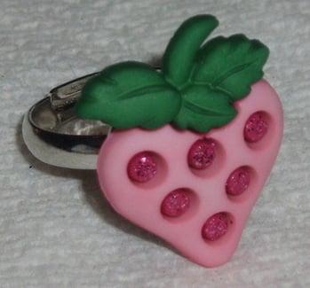 Strawberry Ring Sparkling Pink Adjustable