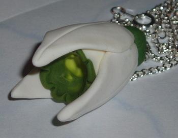 Snowdrop Pendant Spring Snow White Fimo Handmade
