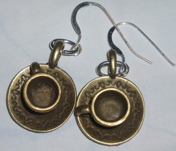 Teacup Earrings Brass