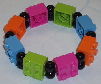 Lego Bracelet 2 Row 2x2 Brick Pearls Stretch Jewellery