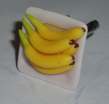 Bananas Bunch Ring Adjustable Plate Fimo Handmade Summer