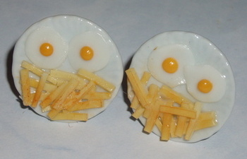Egg and Chips Cufflinks Plate Fried Eggs Chippie Food
