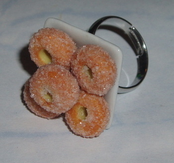 Donut Ring Sugar Dusted Plate Donuts Doughnut Adjustable