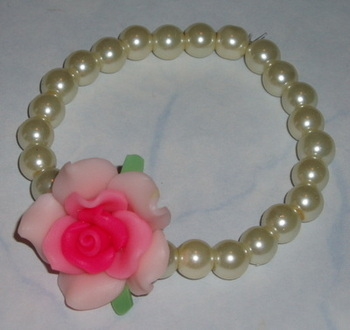 Rose Bracelet Pink Fimo Pearls Stretch Gift