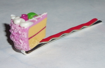 Piece of Raspberry Rose Cake Hair Clip