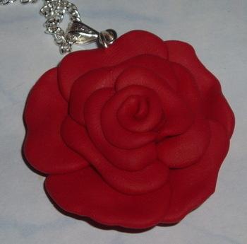 Rose Pendant Romantic Red Fimo Handmade Scotland