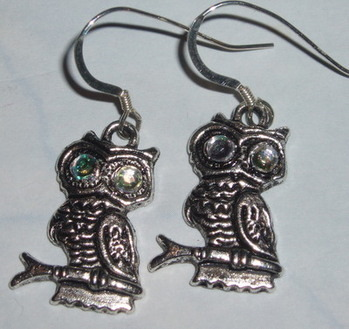 Owl Earrings Crystal Eyes Sterling Gift
