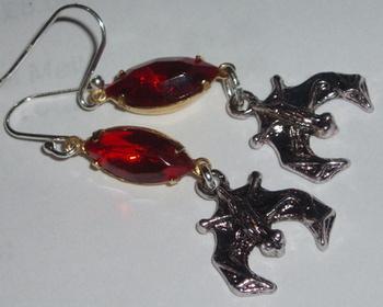 Bat Earrings Vintage Rhinestone Drop Blood