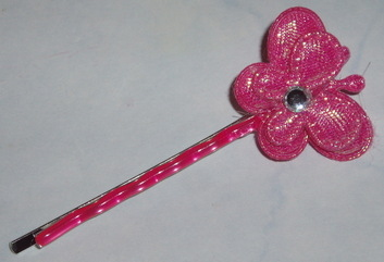 Hot pink butterfly hair clip