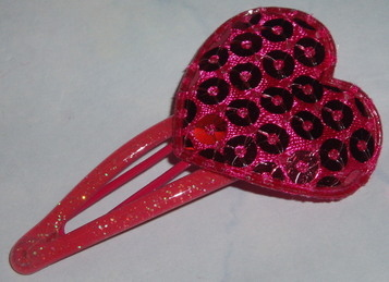 hot pink sequined heart hair clip