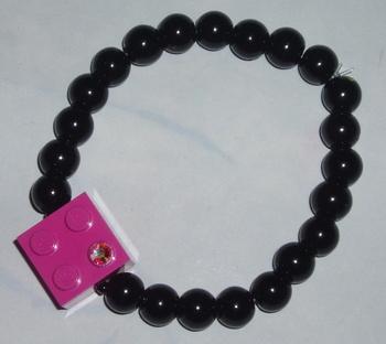 pink lego black pearl bracelet