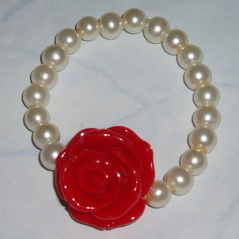Rose Bracelet Red Pearls Bridesmaid Flower Girl Gift