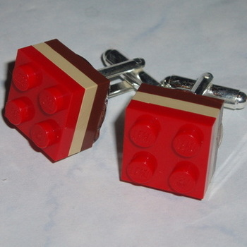 Lego Cufflinks 3 Stripe 2x2 Plates Team Football Rugby University