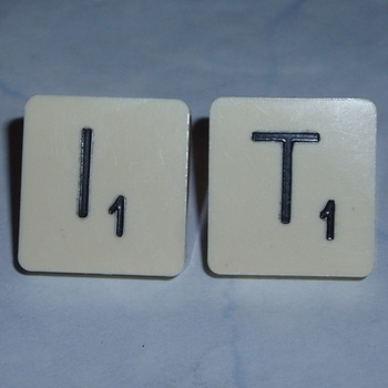 Scrabble Earrings Stud Initial Letters Sterling Back
