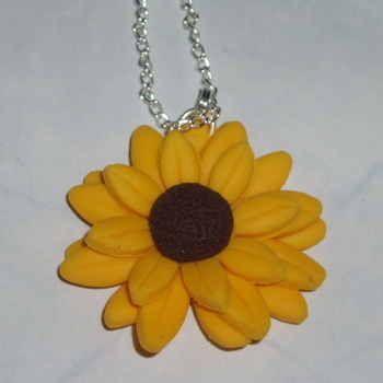 Sunflower Pendant Yellow Flower Summer Fimo Handmade Scotland