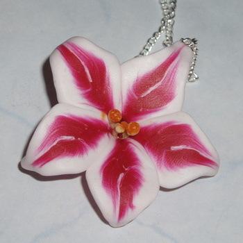 Lilly Pendant Stargazer Flower Fimo Handmade Scotland Gift
