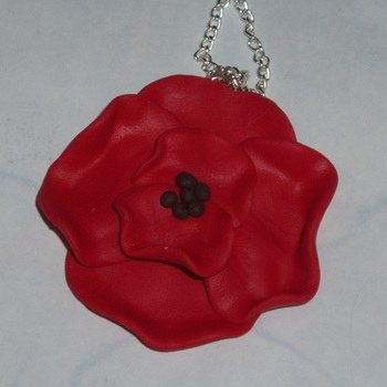 Poppy Pendant Remembrance Red Handmade Fimo