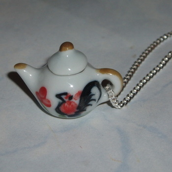 Teapot Pendant Miniature White Green and Orange