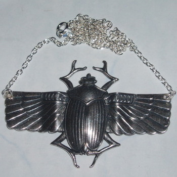 Scarab Beetle Pendant Necklace Winged Egyptian Style Swarovski