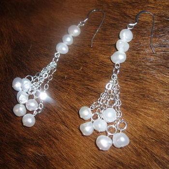 Freshwater pearl cluster drop earrings